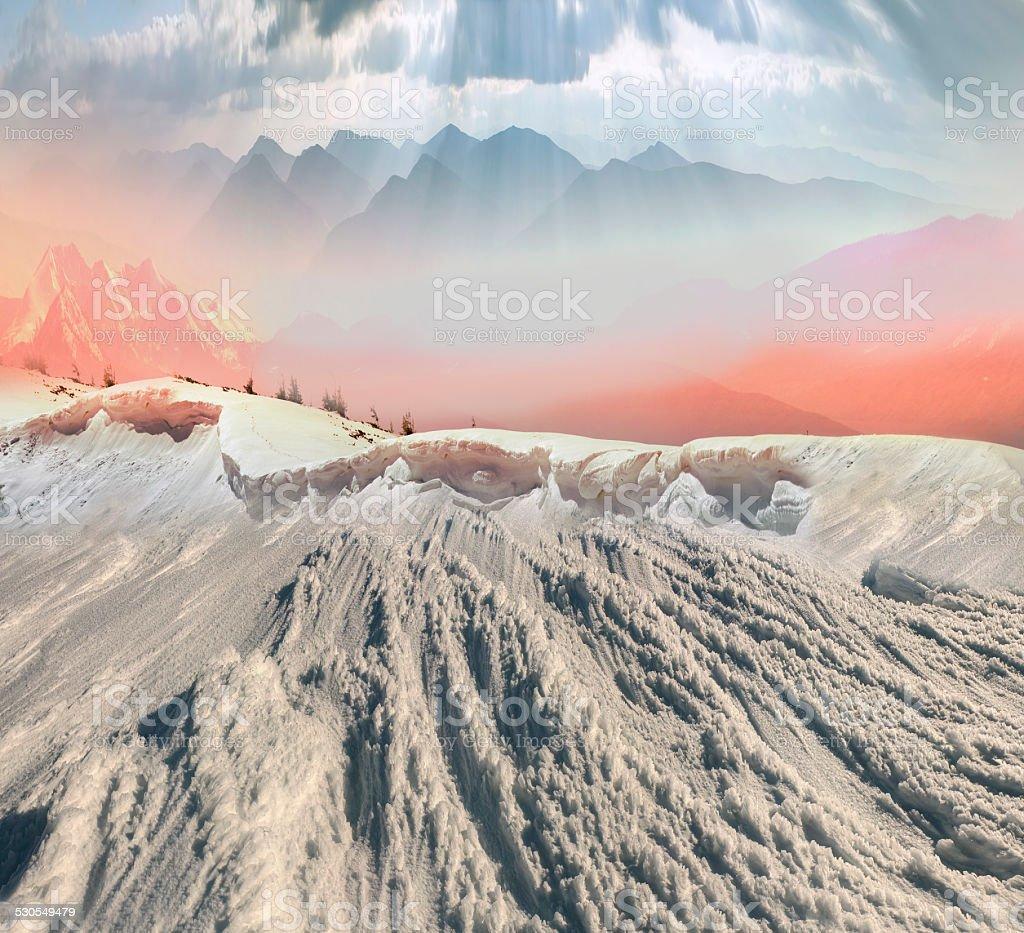 beauty of winter mountains stock photo