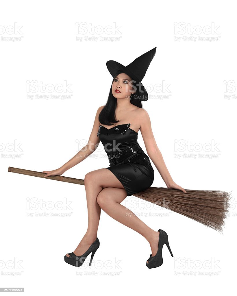 Beauty of young asian witch woman stock photo