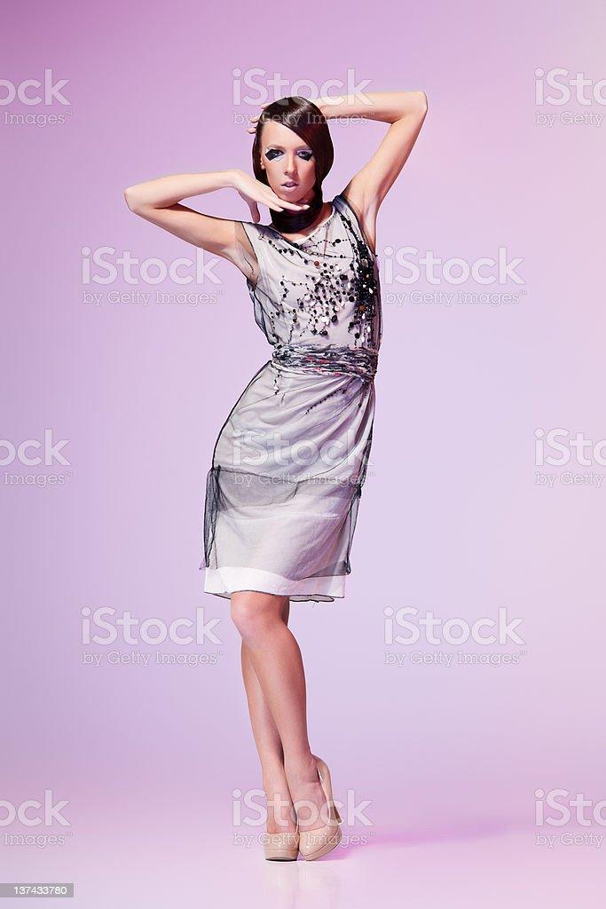 Beauty on grey royalty-free stock photo