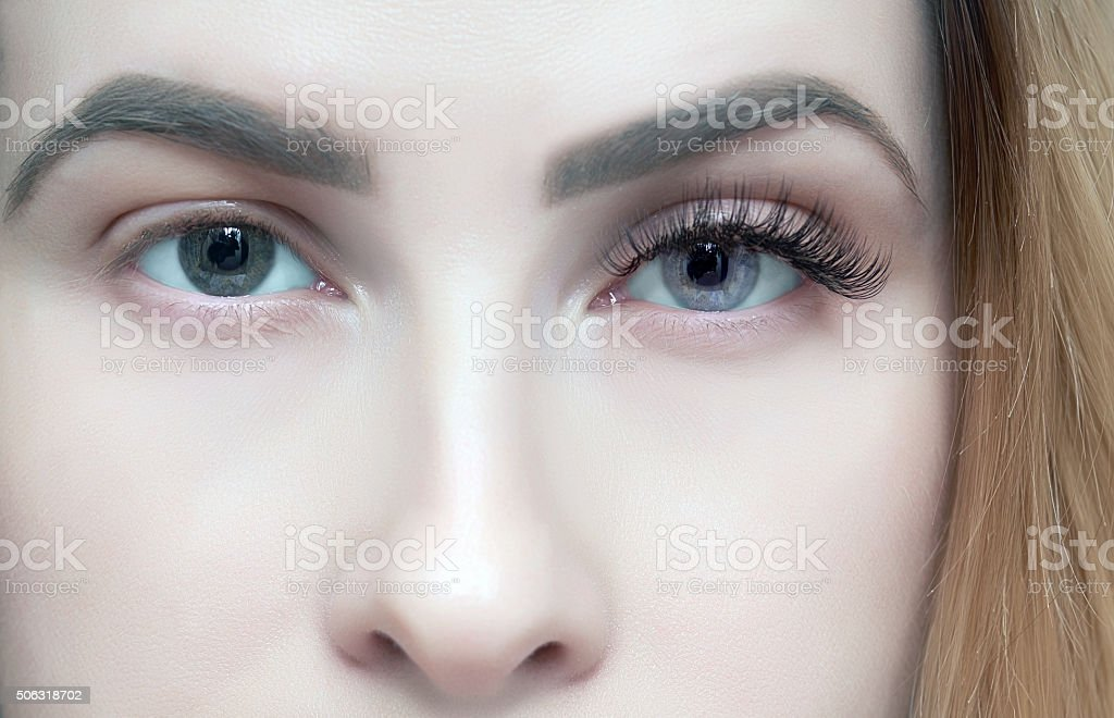 beauty on her eyes stock photo