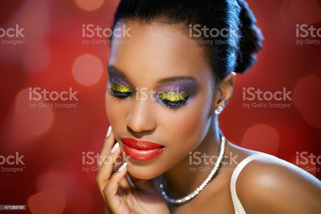 Beauty On Red royalty-free stock photo