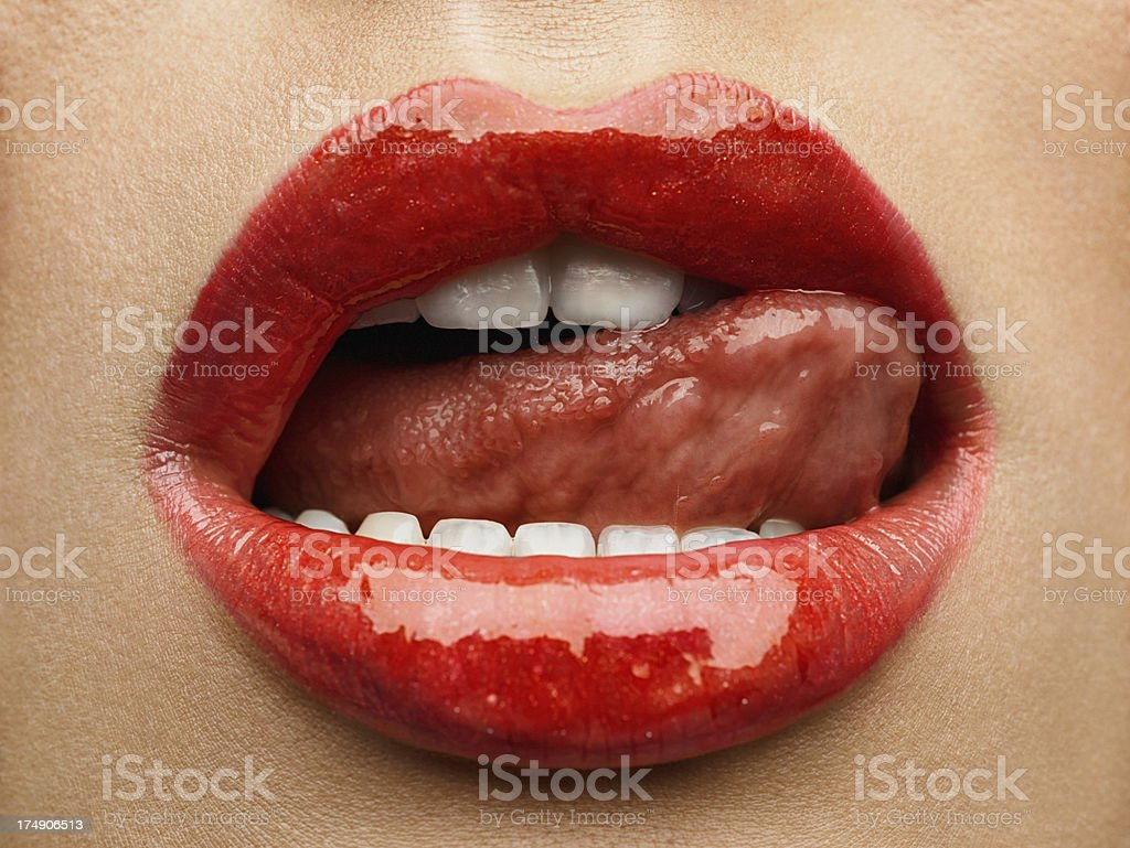 Beauty photo (close-up) of red female lips royalty-free stock photo