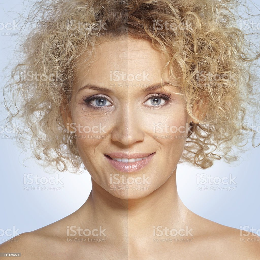 Beauty / Photo retouch, before and after royalty-free stock photo