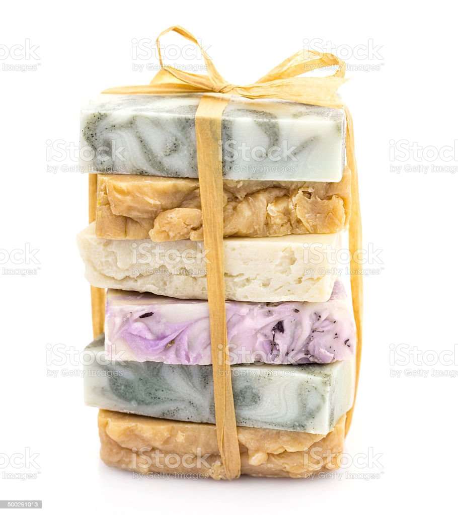 Beauty pile of handmade soap  isolated on white stock photo