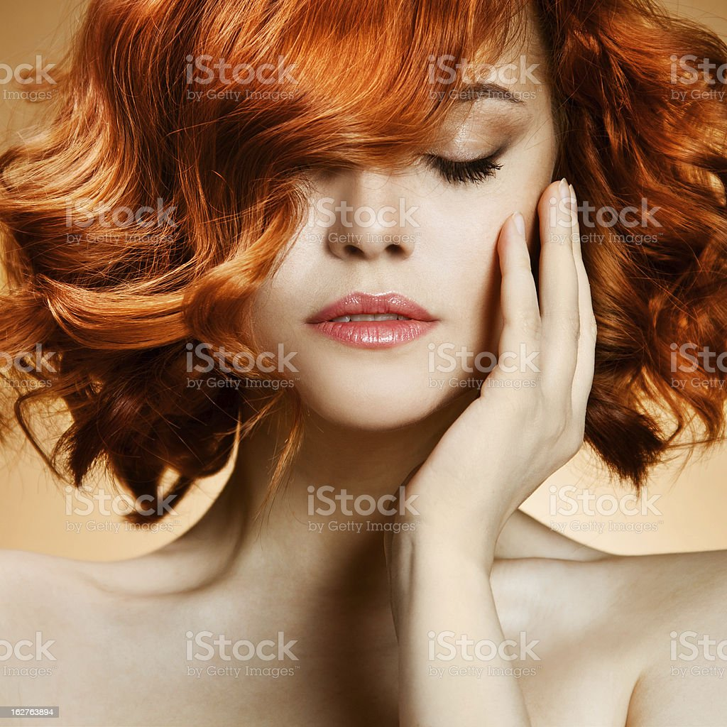 Beauty Portrait. Curly Hair royalty-free stock photo