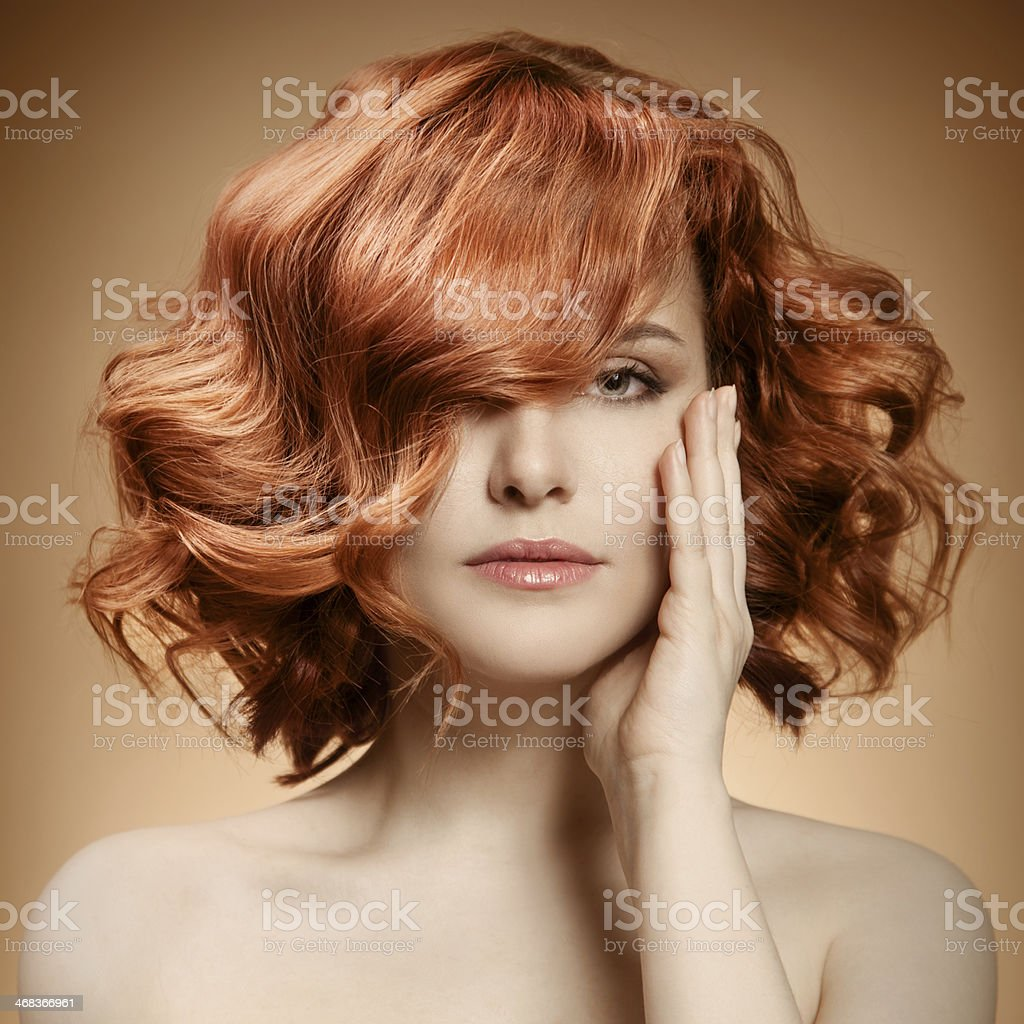 Beauty Portrait. Curly Hair stock photo