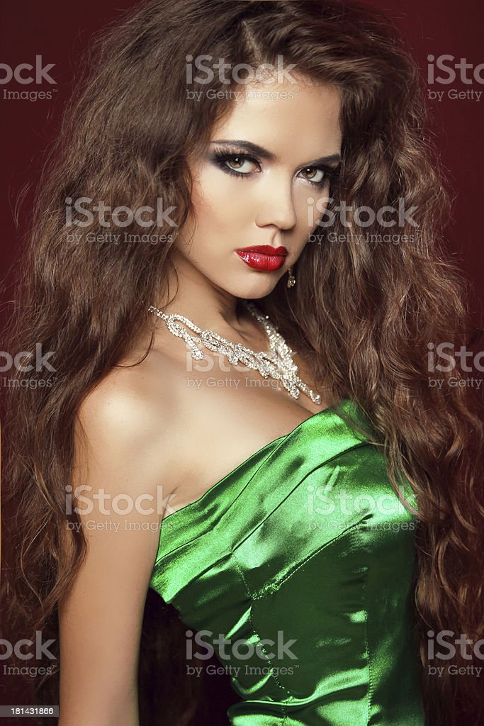 Beauty Portrait. Elegant Woman with Red Lips royalty-free stock photo
