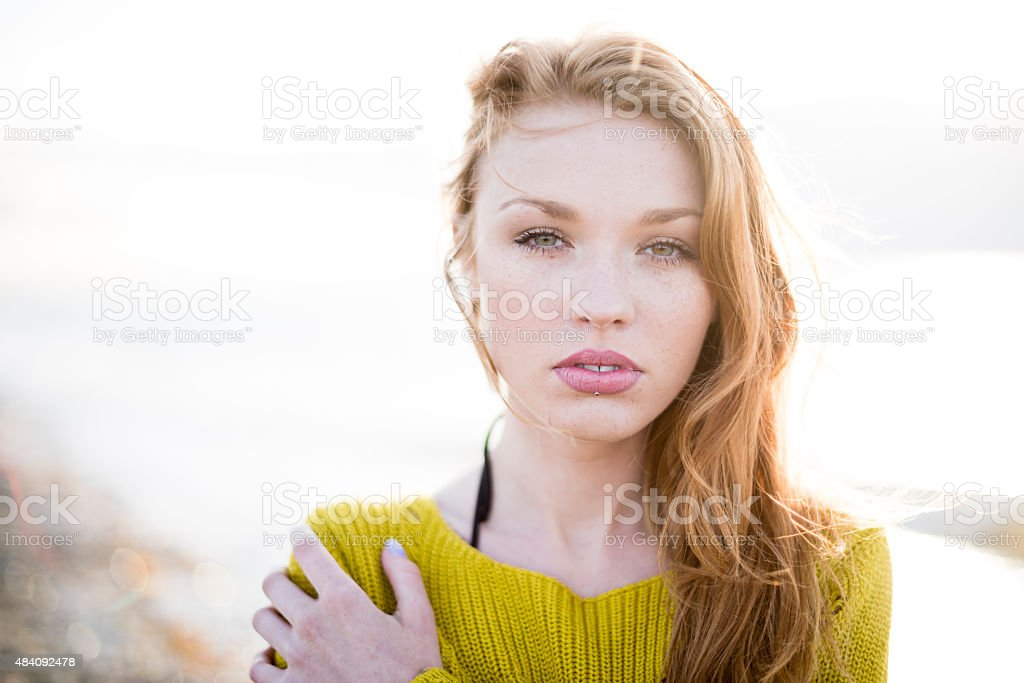 Beauty portrait of a red haired woman stock photo