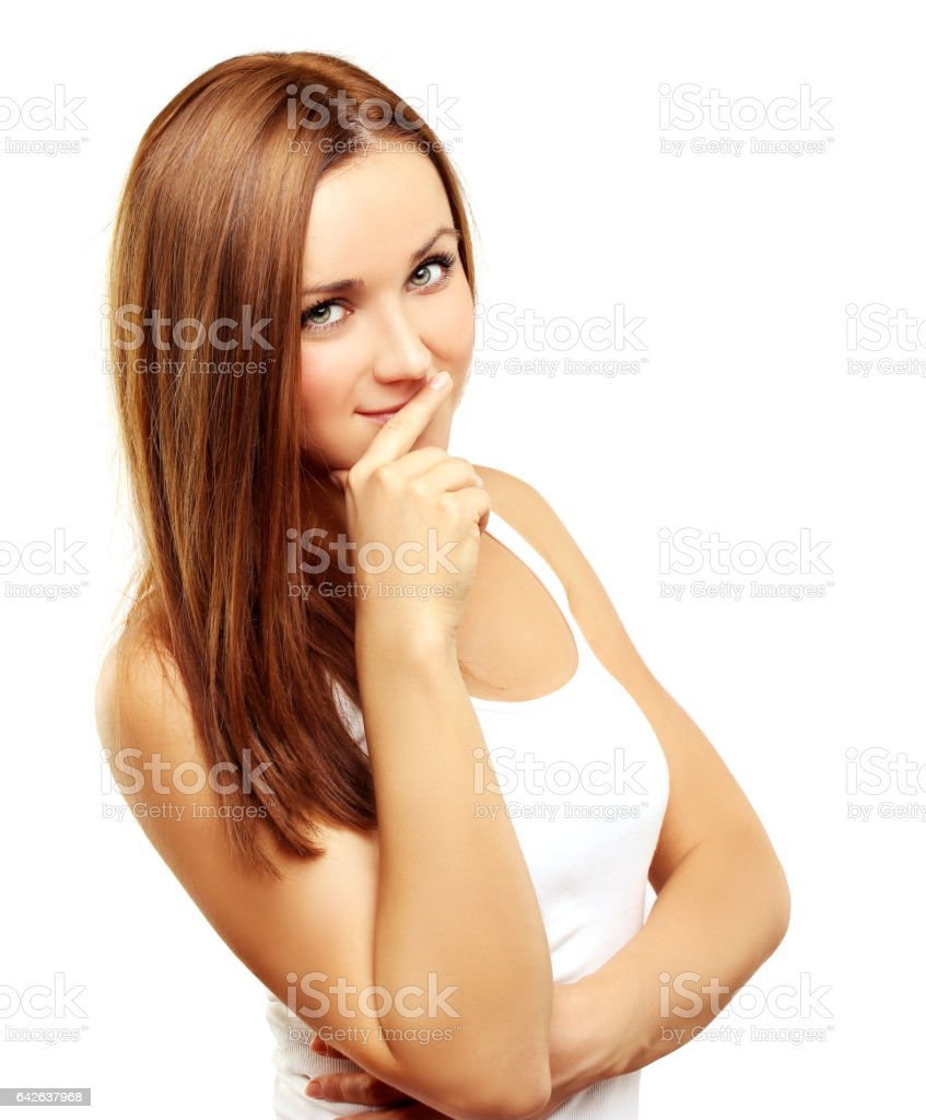 Beauty portrait of a young girl. stock photo