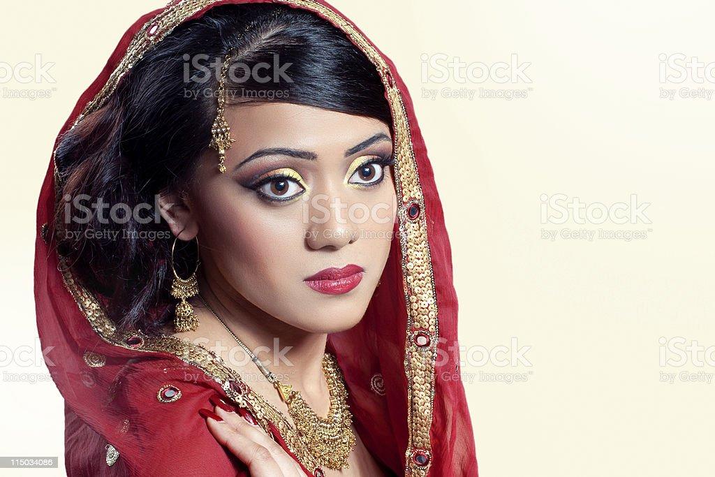 Beauty portrait of a young indian woman, closeup shot stock photo