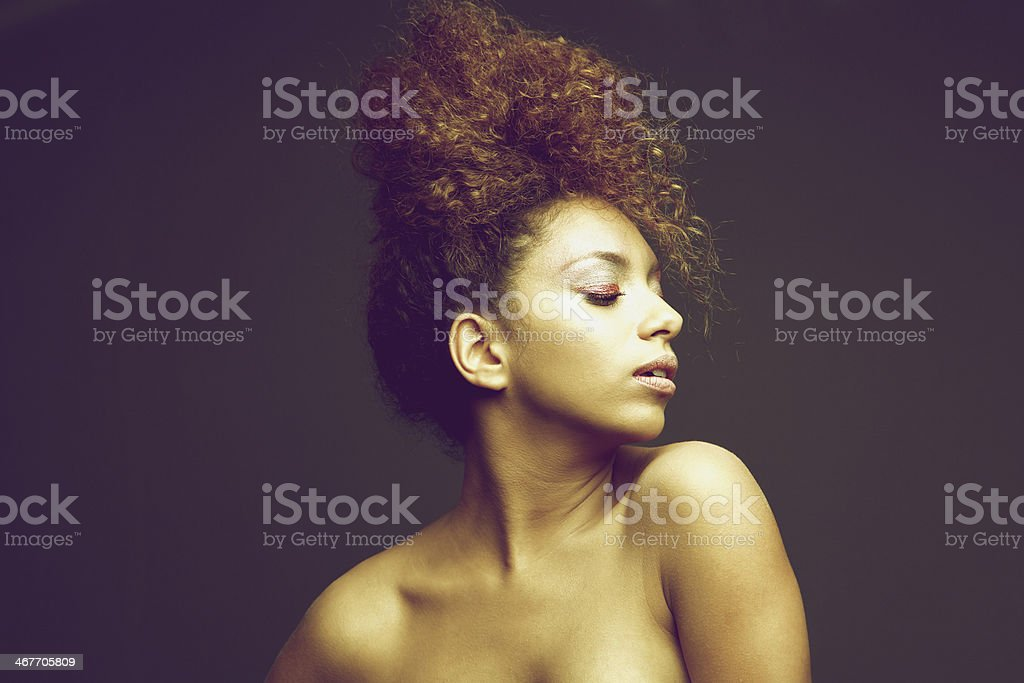 Beauty portrait of an african american female fashion model royalty-free stock photo
