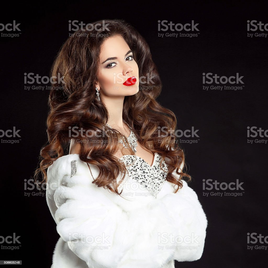Beauty portrait of beautiful elegant woman with red lips makeup stock photo