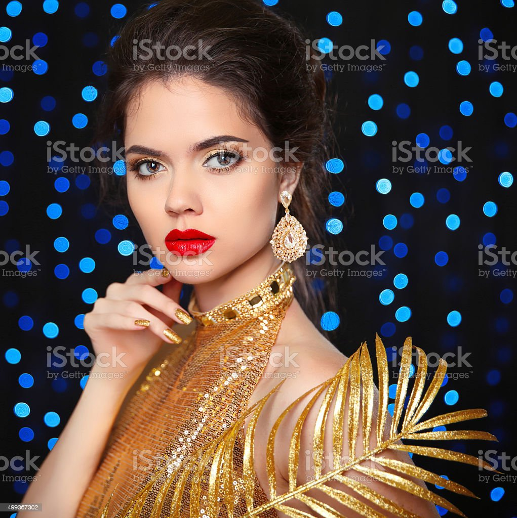 Beauty Portrait of beautiful fashion girl model with red lips stock photo