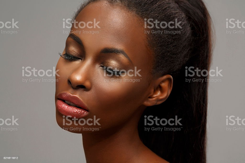 Beauty portrait of beautiful  young african ethnicity woman stock photo