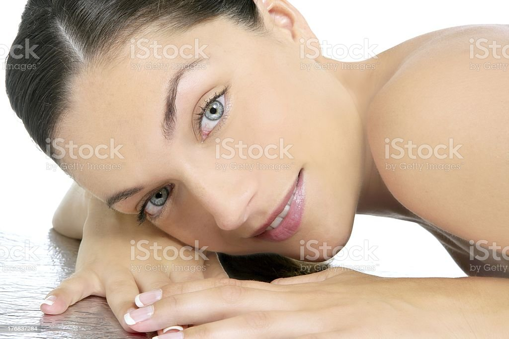 Beauty portrait of blue eyes brunette royalty-free stock photo