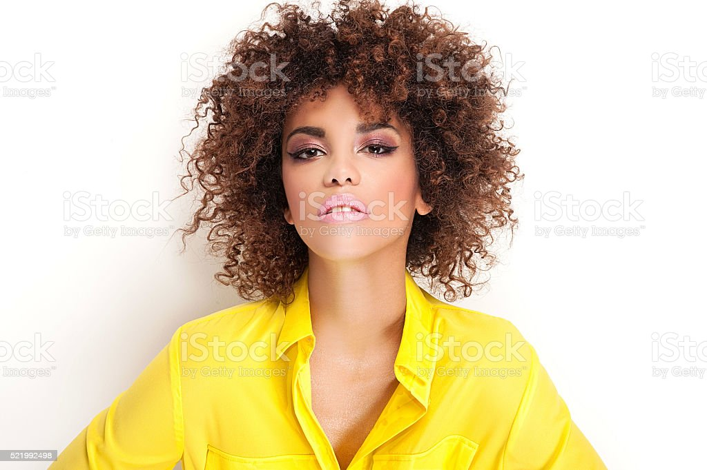 Beauty portrait of girl with afro. stock photo