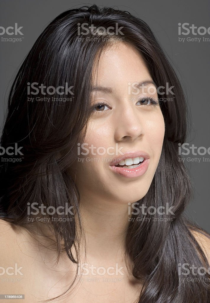 Beauty portrait of Latina woman with long hair royalty-free stock photo