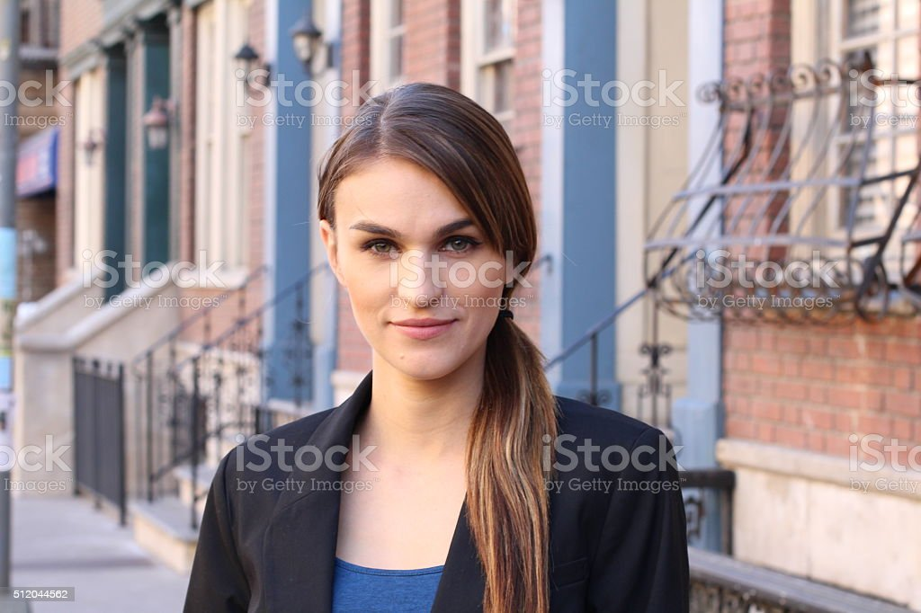 Beauty portrait of nice woman stock photo