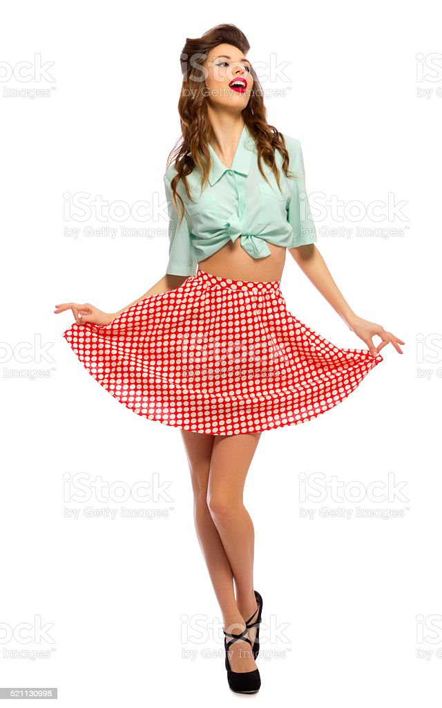 Beauty portrait of pinup girl stock photo