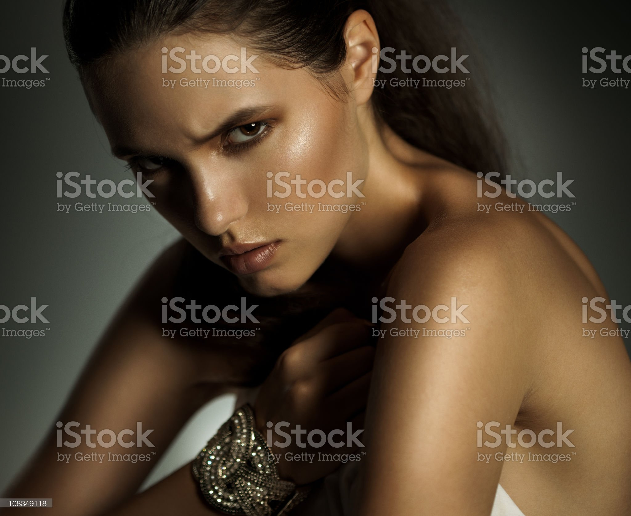 Beauty portrait of sensual young woman on dark background royalty-free stock photo