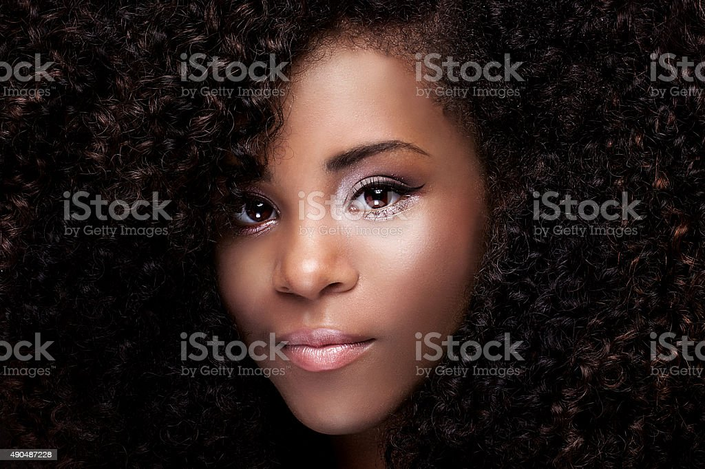 Beauty portrait of young african american girl. stock photo