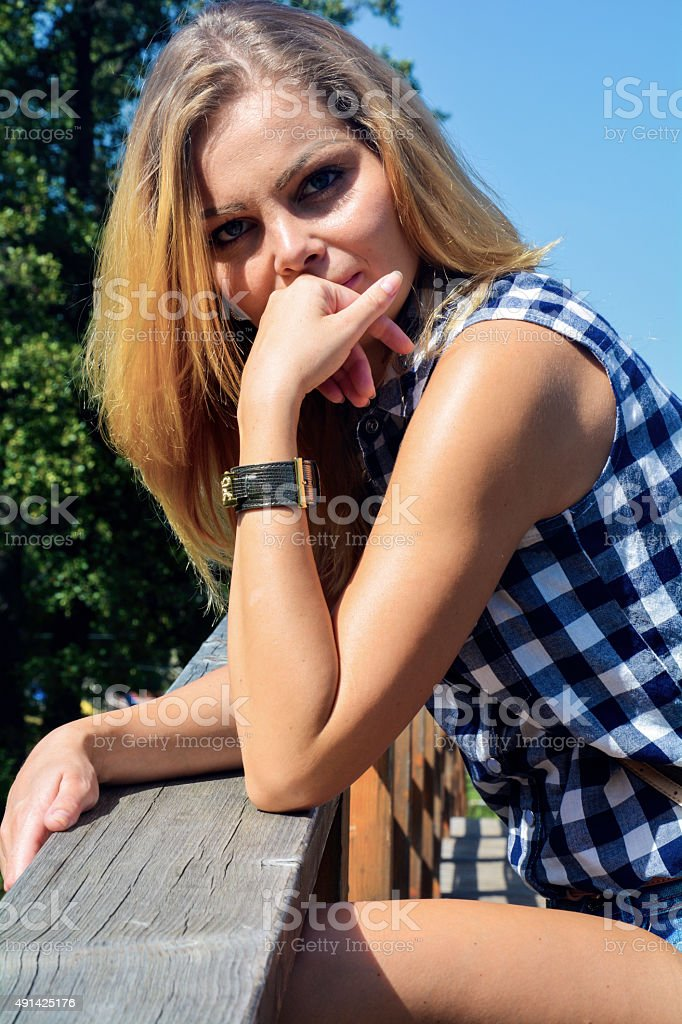Beauty portrait of young blonde stock photo