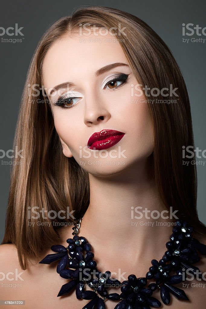 Beauty portrait of young brown-haired woman stock photo