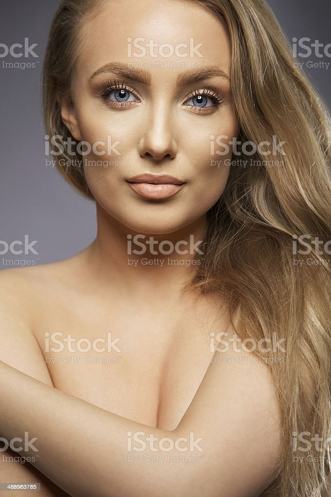 Beauty portrait of young caucasian girl stock photo