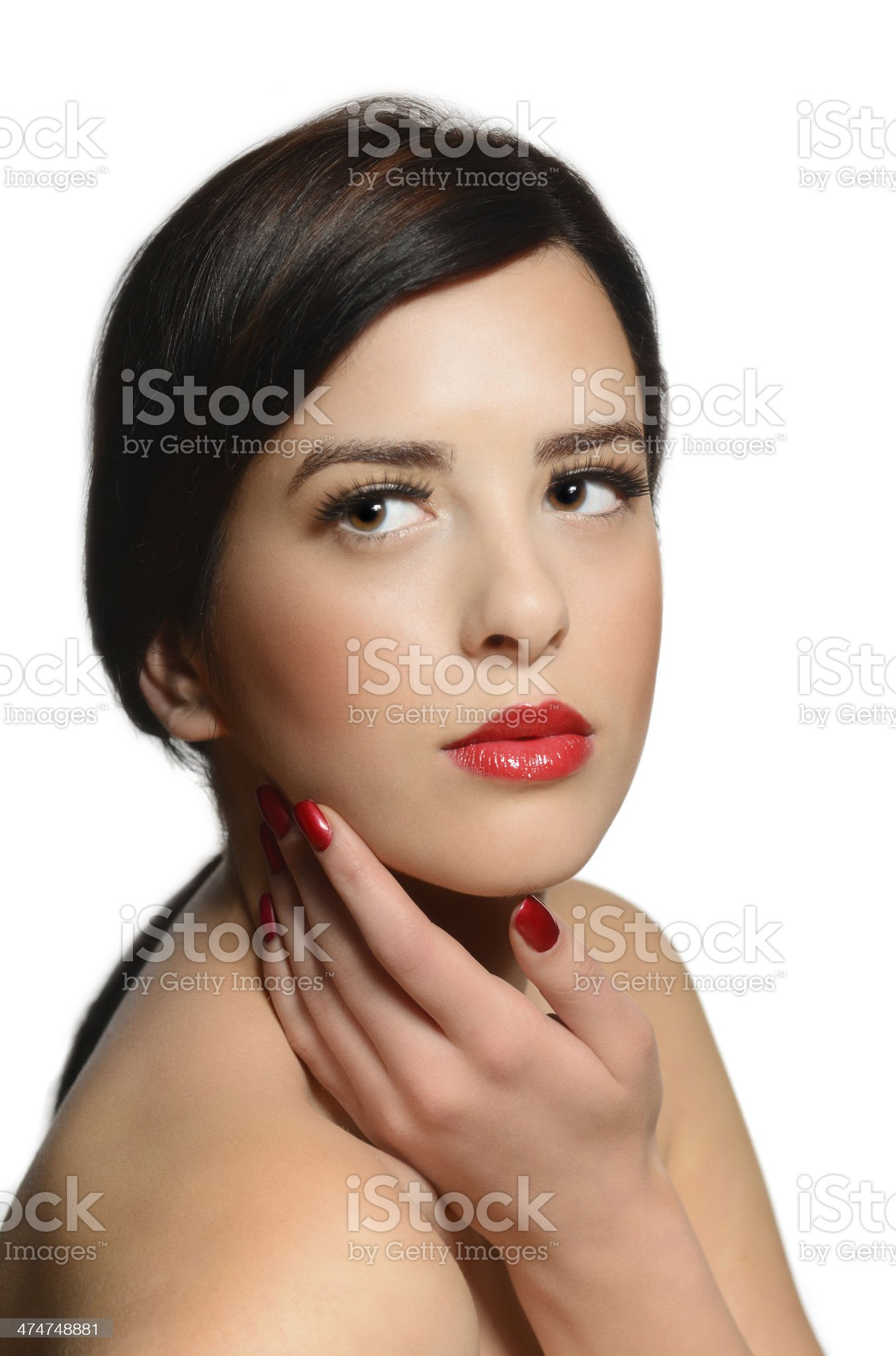 Beauty portrait of young caucasian woman holding with red lipstick royalty-free stock photo