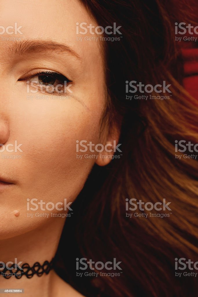 Beauty portrait of young girl crying stock photo