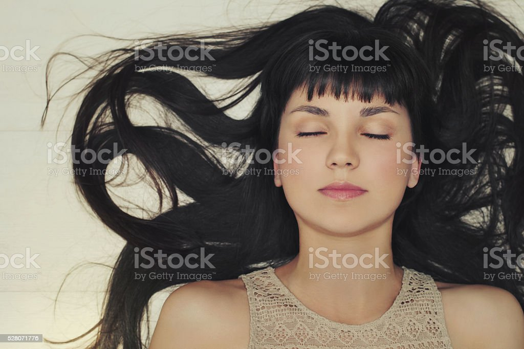 Beauty portrait of young girl. Top view stock photo