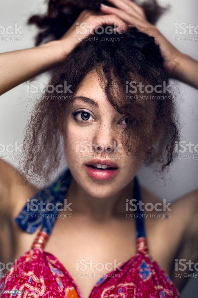 Beauty Portrait of Young Pretty Mixed Race Woman stock photo