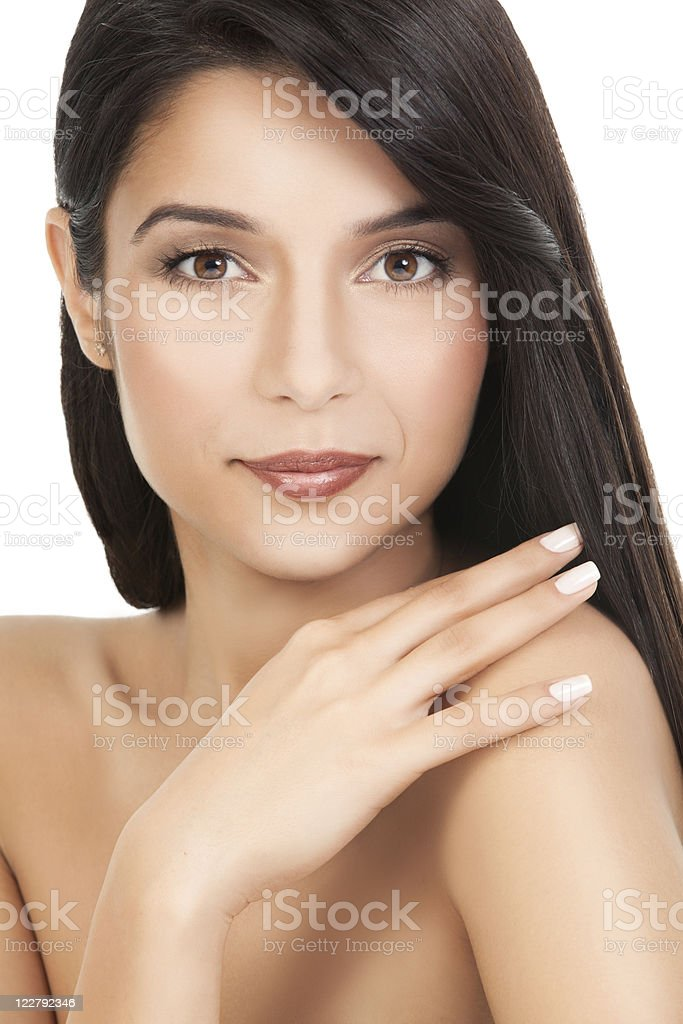 beauty portrait of  young woman, looking over her shoulder royalty-free stock photo