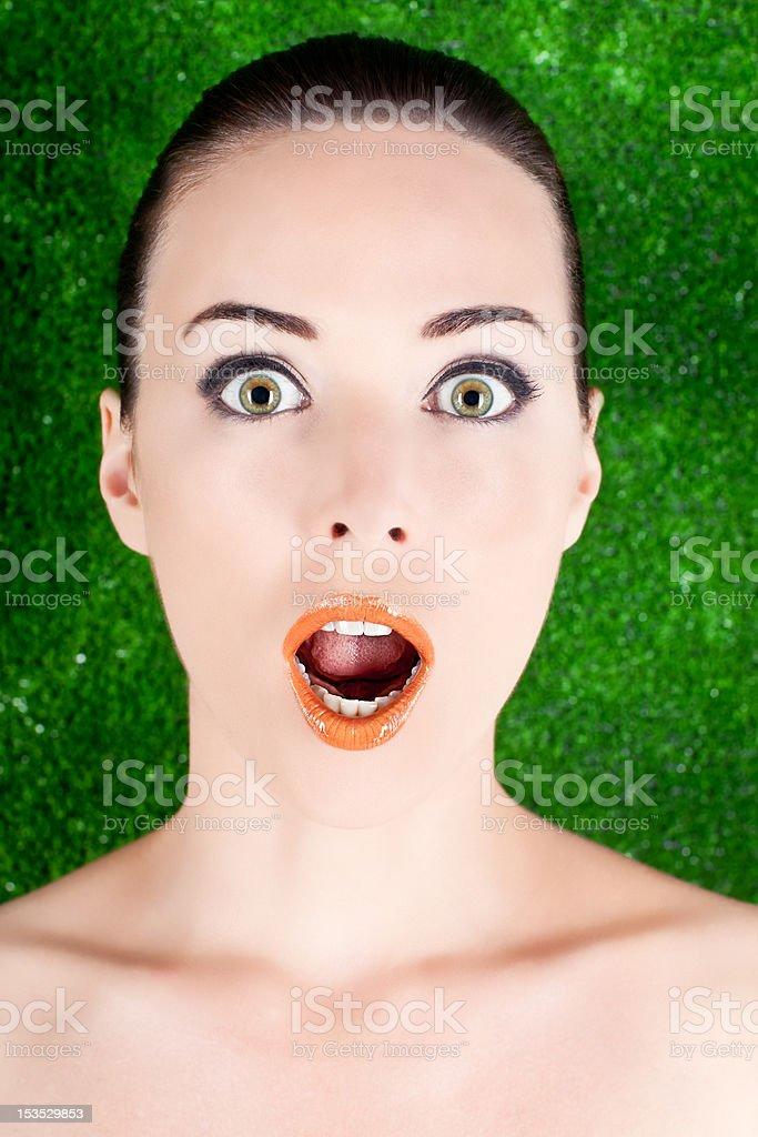 beauty portrait woman surprised stock photo