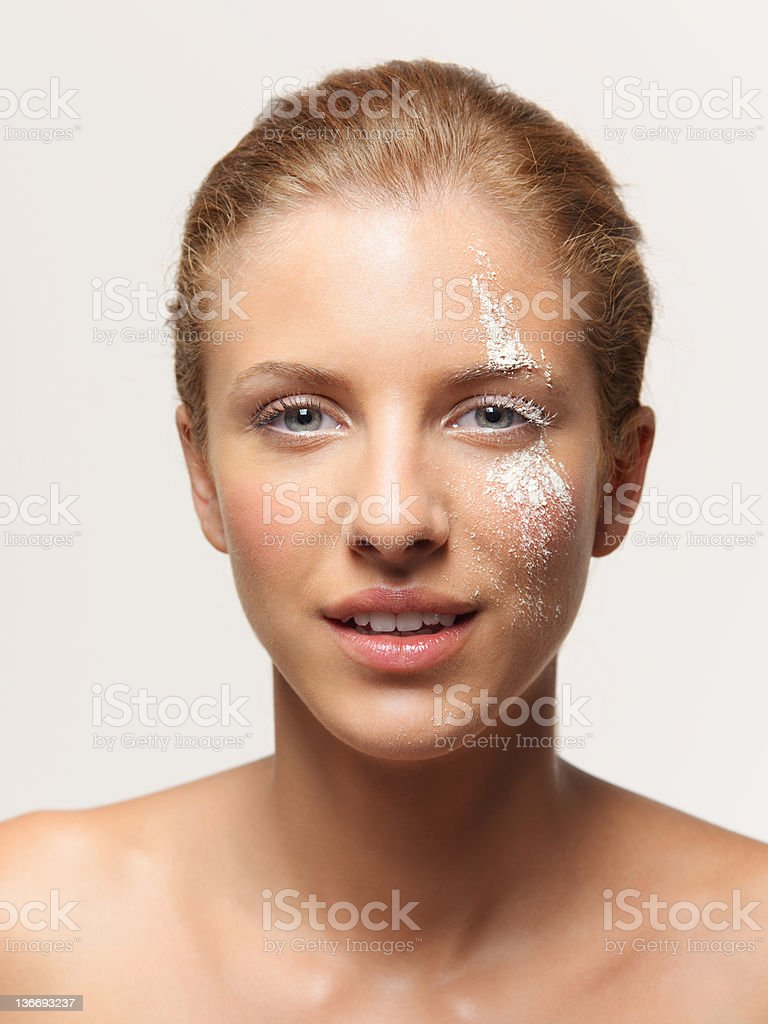 beauty portrait woman white powder on face royalty-free stock photo