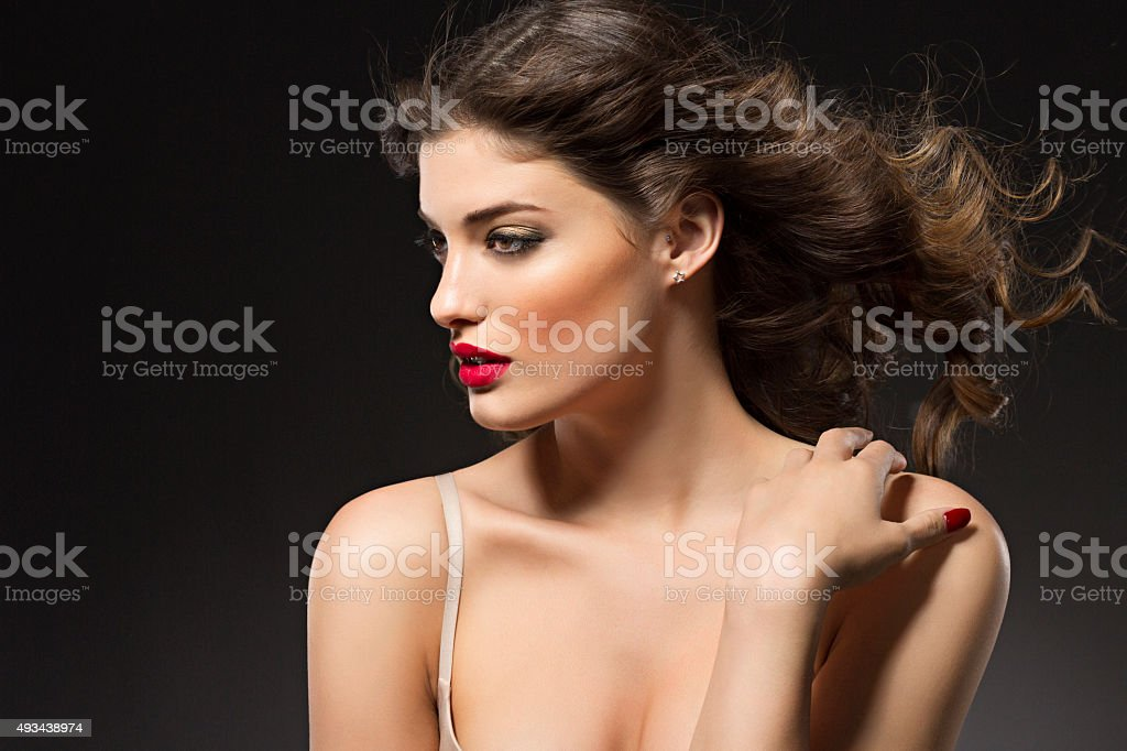 Beauty Portrait   Young women   Attractive long haired brunette stock photo
