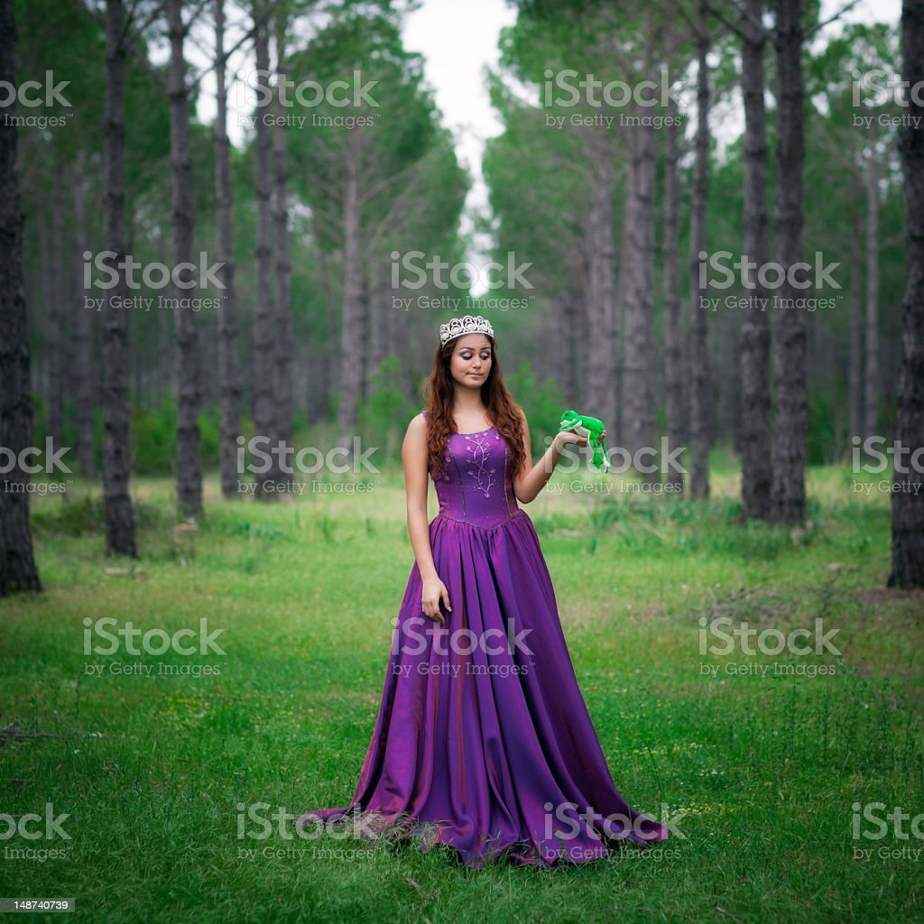 Beauty princess with frog in forest royalty-free stock photo