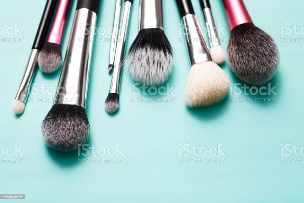 Beauty products, everyday make-up brushes, cosmetics stock photo