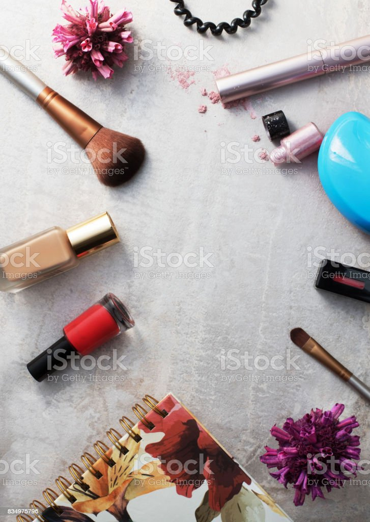 Beauty products, everyday makeup vibrant background. Cosmetic...