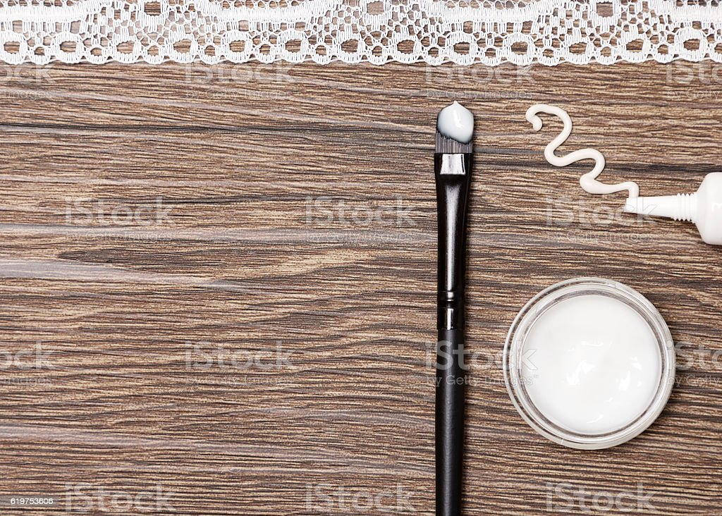 Beauty products for skin around eyes with copy space stock photo