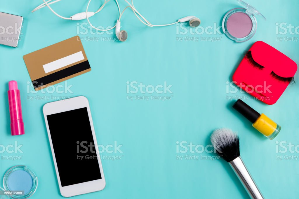 Beauty products online shopping, everyday make-up stock photo