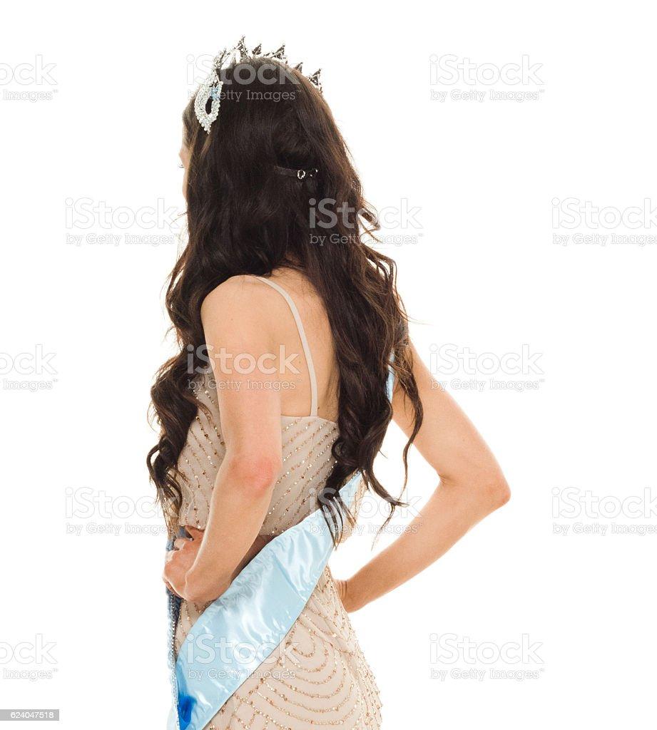 Beauty queen looking away stock photo