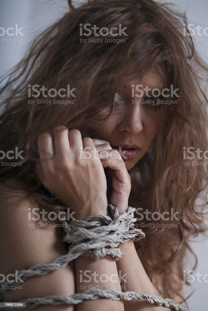 beauty redhaired woman bondage royalty-free stock photo