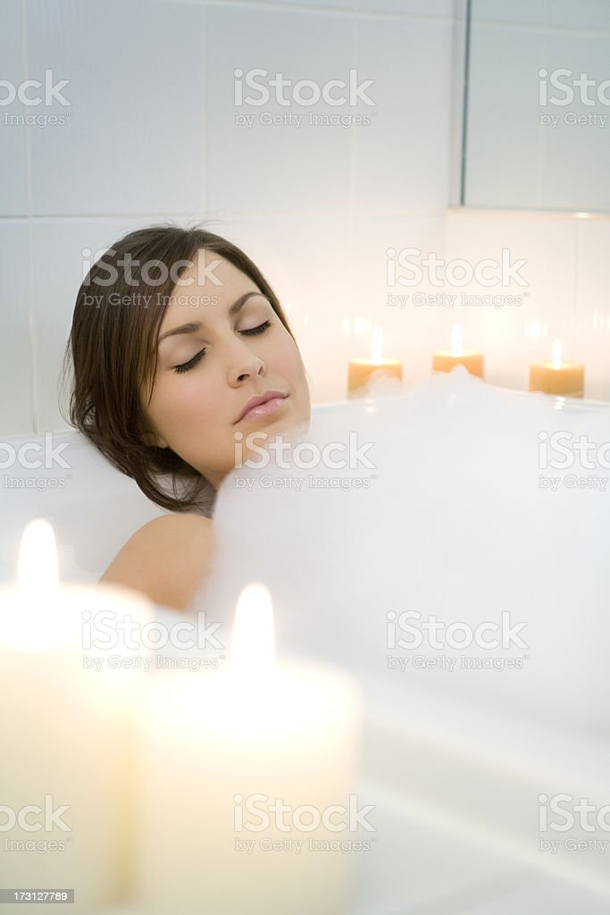 Beauty Relaxing In Her Bathtub royalty-free stock photo