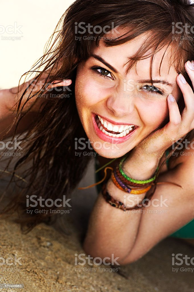 Beauty Relaxing on the Beach stock photo