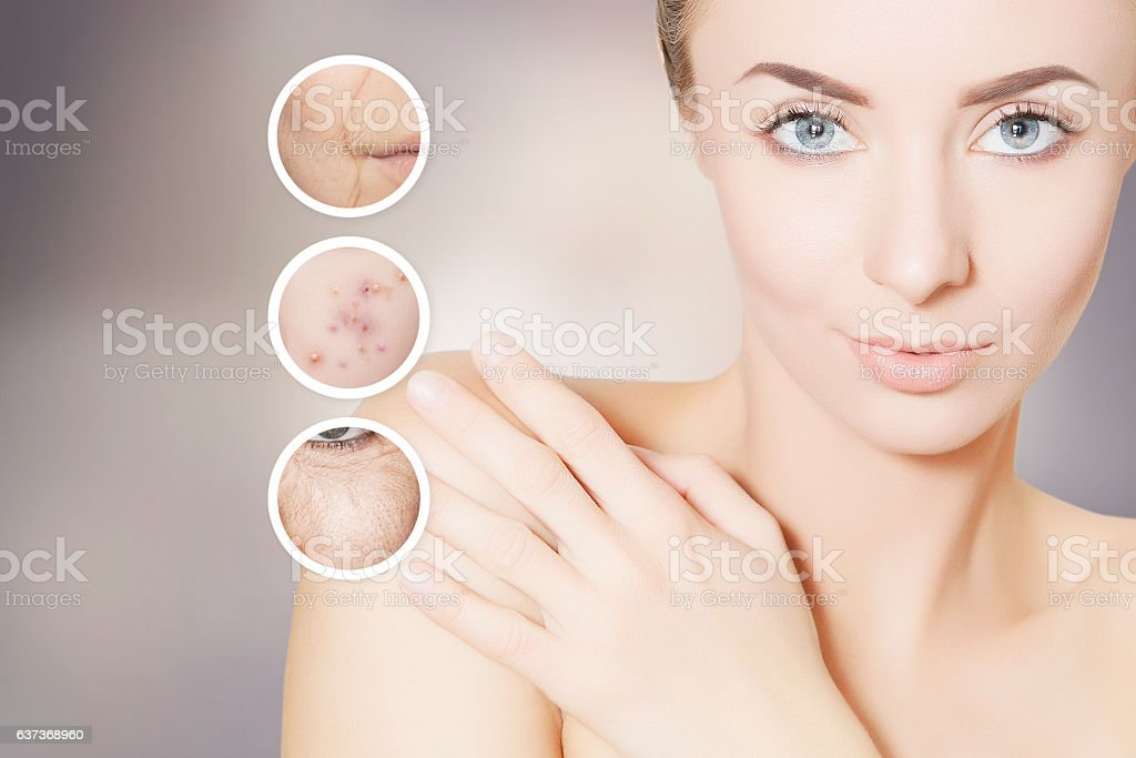 beauty renovating skin portrait of woman with graphic circles stock photo