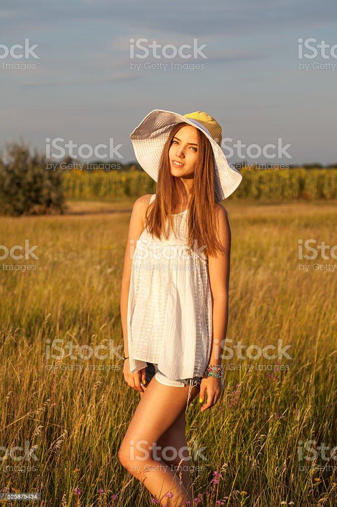 Beauty Romantic Woman Outdoors. Beautiful Teenage Model girl Dre stock photo