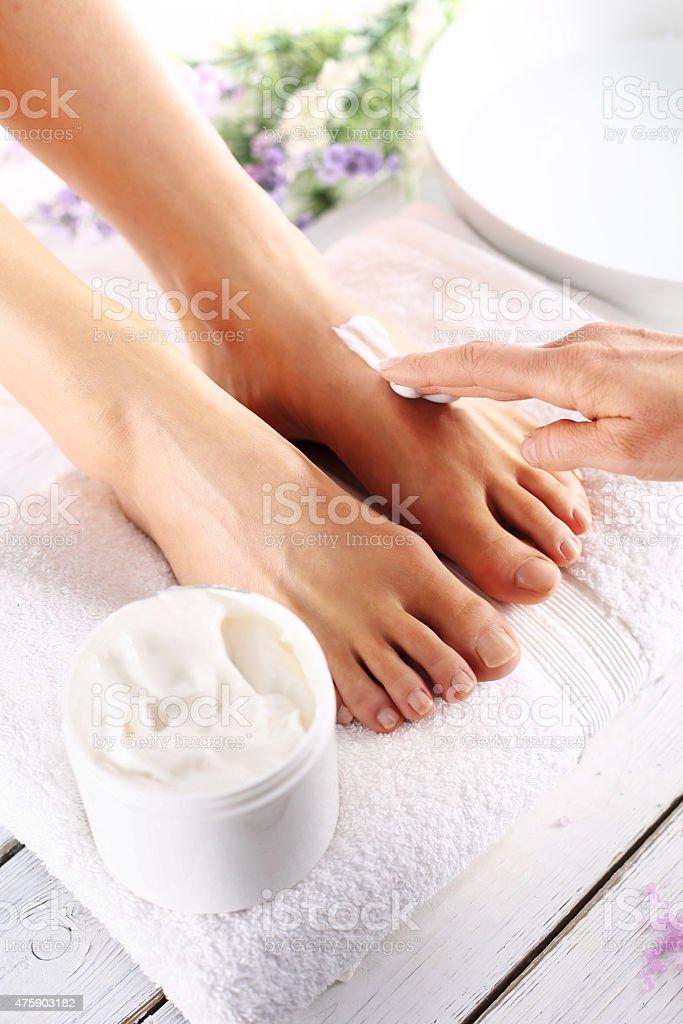 Beauty salon, massage foot care treatment stock photo