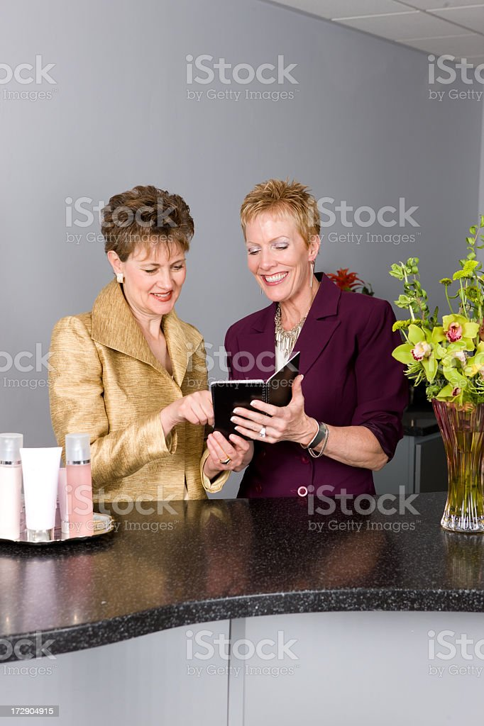 Beauty Salon Owners Consulting royalty-free stock photo