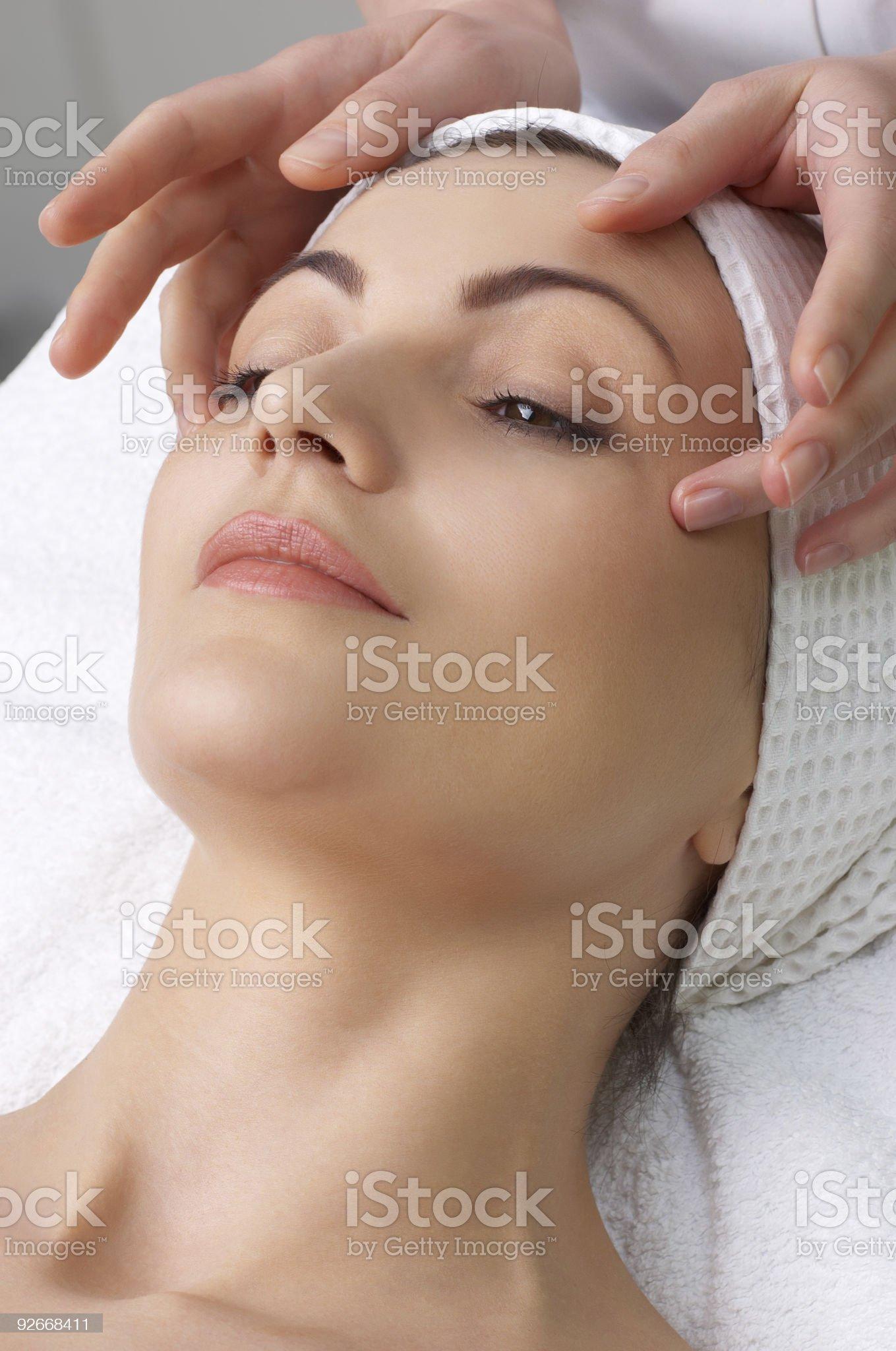 beauty salon series. facial massage royalty-free stock photo